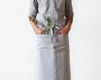 Light Grey Stone Washed Linen Garcon Apron