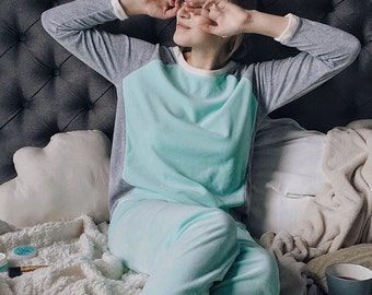 Mint soft velour pyjama set pants and shirt