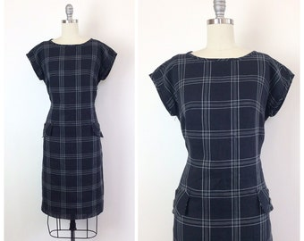 60s Grey Westover Cotton Wiggle Dress / 1960s Vintage Cap Sleeve Plaid Day Dress With Hip Pockets / Large / Size 10 / 12
