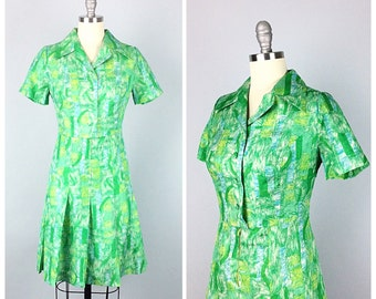 60s Green Abstract Print Dress - 1960s Vintage Day Dress Party Dress With Pleated Skirt - Medium - Size 8