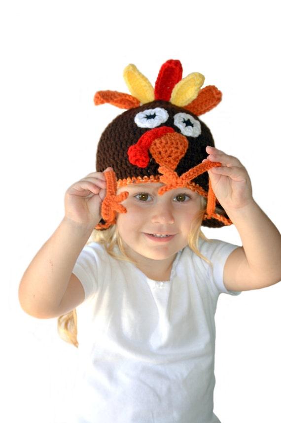 Turkey Hat Crochet Thanksgiving Hat Toddler Fall Hat Turkey Knit Hat Baby Turkey Hat Thanksgiving Baby Crochet Turkey Adult Hat Teen Brown