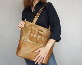Leather tote bag. Leather shoulder bag. Leather handbag. Ginger and gold leather purse. Large leather bag.