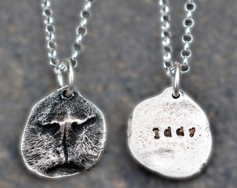 Silver Cat Nose Print Pendant Necklace - Your Cat's ACTUAL nose print in PURE silver - Cat Lover Necklace, Cat Nose Print Jewelry