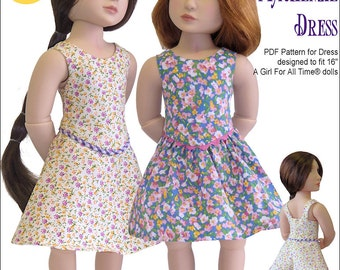 Pixie Faire Genniewren Designs Mackenzie Dress Doll Clothes Pattern for A Girl For All Time Dolls - PDF