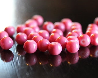35 baking painted glass beads, round and smooth, 6 mm, hole 1.3-1.6 mm, pink