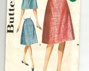 2235 Butterick Sewing Pattern Flared Skirt Size 8 24W Vintage 1960s