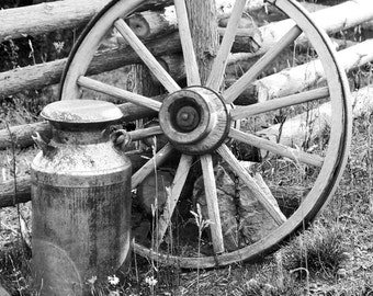 Wagon Wheel picture, country decor, milk can photo print, black and white wall art, old rustic farm photography 8x10 11x14 12x18 16x20 16x24