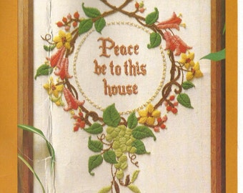 "The Creative Circle Embroidery Kit # 0314 / ""Peace Be To This House""  / Stamped FABRIC ONLY / Embroidery Kit"