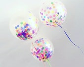 "12 Large Confetti Balloons 17"" / Multicolor / DIY / Wedding / Birthday / Baby Shower"