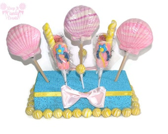 Lollipop Seashell Centerpiece, Beach Wedding, Beach Candy Centerpiece, Beach Theme Candy Buffet Decor, Edible Seashell Centerpiece, Beach
