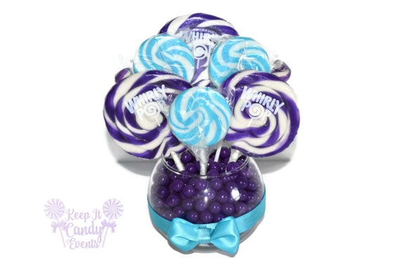 Small Purple And Turquoise Lollipop Centerpiece Purple And