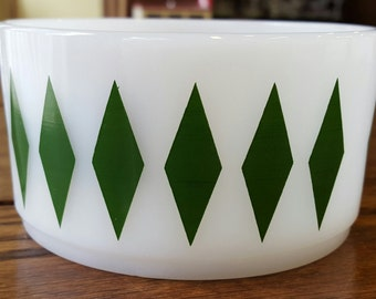 Fire King Green Diamond Harlequin Bowl Stackable Cereal