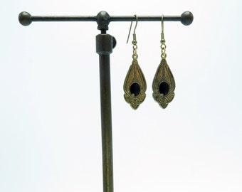 Vintage Art Nouveau Antique Brass Tone Dangle Earrings