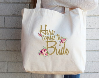 Gift for Bride to Be Engagement Gift Bridal Shower Gift Here Comes the Bride Custom Tote Bag Personalized Cotton Canvas Reusable Tote
