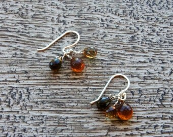 PETRO TOURMALINE & mandarin CITRINE briolette earrings. Faceted gemstones. S. S. Tiny/Natural /organic/ Fall/ Autumn/ warm/ everyday/Boho