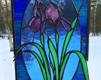 PANEL - Stained Glass Iris Panel