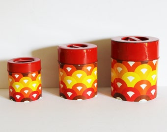 Vintage Nesting Trio of kitchen storage tins canisters - Ideal for Tea Coffee Sugar
