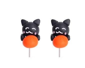 Black Cat Earrings Orange Ball Polymer Clay Hand Made 3D Black/Orange
