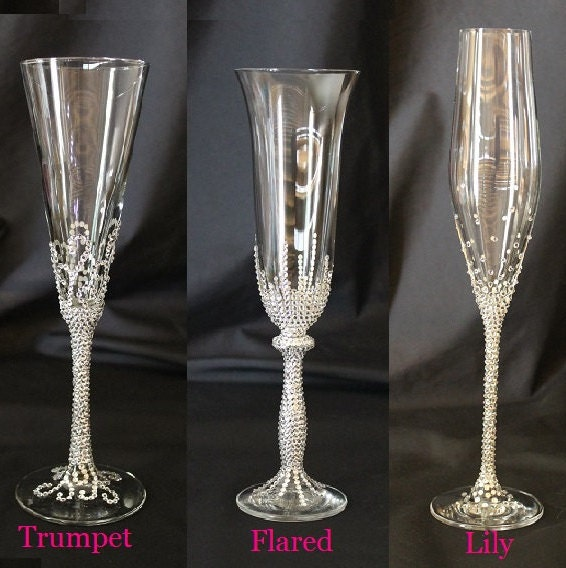 Customizable swarovski crystal toasting flutes toasting - Flute a champagne design ...