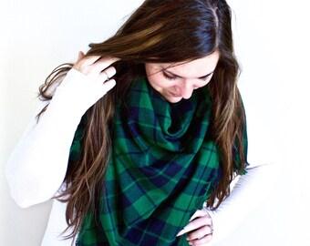 Plaid Blanket Scarf | Oversized Fringe Wrap | Frayed Edge Square Shawl | Emerald Green, Navy Blue | Print Scarf | The PINELAKE Blanket Scarf