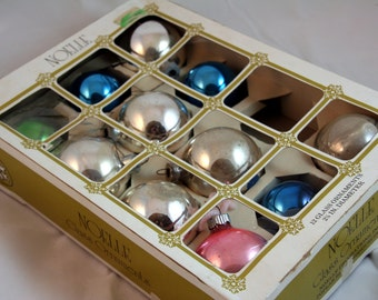 Mismatched mercury glass ornaments in Noelle box-green blue and gold-small and medium