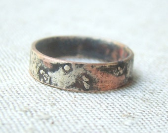 Unique mens wedding ring  men engagement ring silver copper ring, rustic ring men's ring