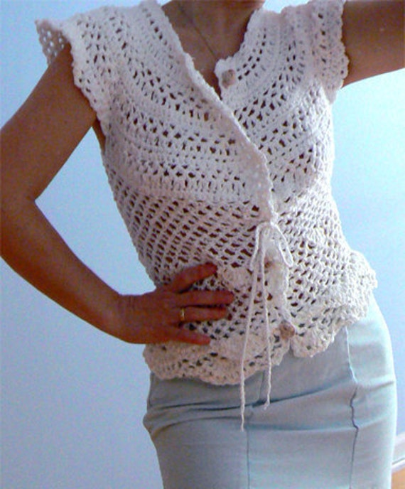 White crochet jacket- Summer mesh blouse. Handmade crochet top.Boho crochet shirt.Chic crochet jacket. Wedding crochet top. Sexy crochet top