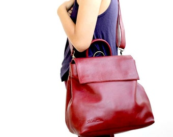 Leather crossbody bag , Leather shoulder bag in bordeaux , convertible leather backpack women