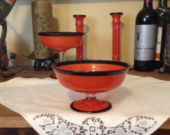 Free Shipping Vintage Art Deco Orange Glass Compote Black Trim Clear Stem