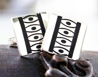 Vintage square silver with black cufflinks inset details mod abstract design