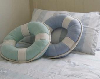 SALE -20% Lifebuoy Pillow Beach Cottage Style! Nautical Art. Maritime home decor. Aquamarine pastel color, cotton rope. Spectacular gift!