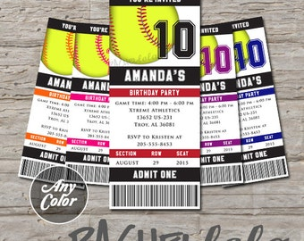 Softball ticket, Birthday Invitation, Printable, Any color