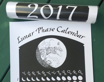 2017 Lunar Phase Calendar in Black