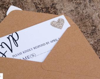 RSVP for Wedding Invitation, Rustic Kraft Wedding Invitation, Lace Wedding Invitation, Country Wedding Invitation Card, Wedding RSVP card