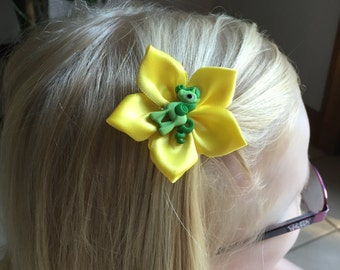 Green My Little Pony Hair Clip/Hair Bow with Yellow Ribbon, Kanzashi