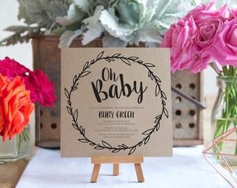 Baby Shower Invite, Printable Baby Shower, Oh Baby, Digital File, DIY Invite