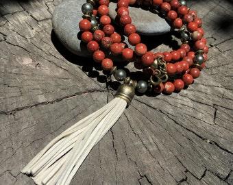 RED JASPER & PYRITE Mala Beads with Cream Suede Tassel   108 Bead Crystal Mala Yoga Necklace   Om, Meditation Beads by Mayan Rose MayanRose
