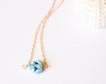 Nautical Anchor Charm Necklace, Blue Anchor Necklace