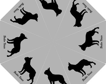 10% Off [Code : OFF10 ]Silhouette BOSTON TERRIER Custom Personalized Dog Puppy Lovers Gift Collection  Foldable UMBRELLA