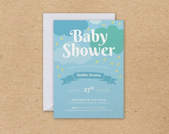 DIY Printable In the Clouds Baby Shower Invitation in Blue