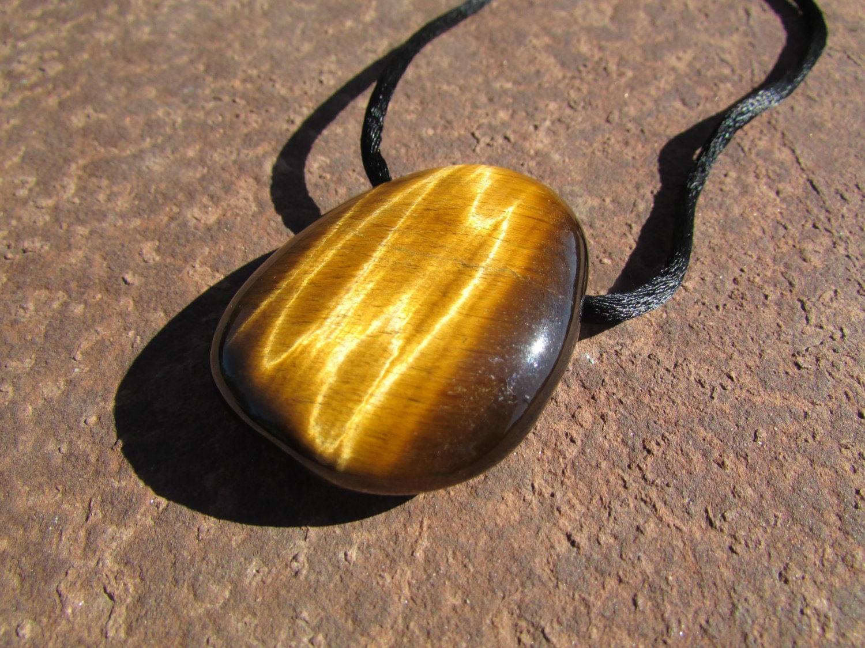 Tiger Eye Pendant Large Tiger Eye Stone Drilled Pendant