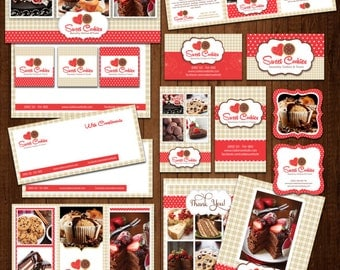 Bakery Cookies Editable Marketing 22 PIECE / Branding Templates, red and cream cookies- editable layered PSD instant download