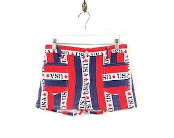 Vintage USA Flag Denim Shorts - Rare 70s Boho Hippie USA Faded Denim Hot Pants - 70s High Waisted Stars Stripes USA Jean Shorts Size Small