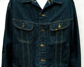 Vintage Mens Lee Denim Jacket Union Workers Made USA Jean XL 48L Rockabilly Coat Western