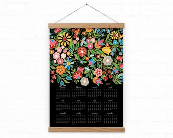 Wall calendar Folk Flora 2017 - Colorful Folk Flowers wall calendar - black, gift for women