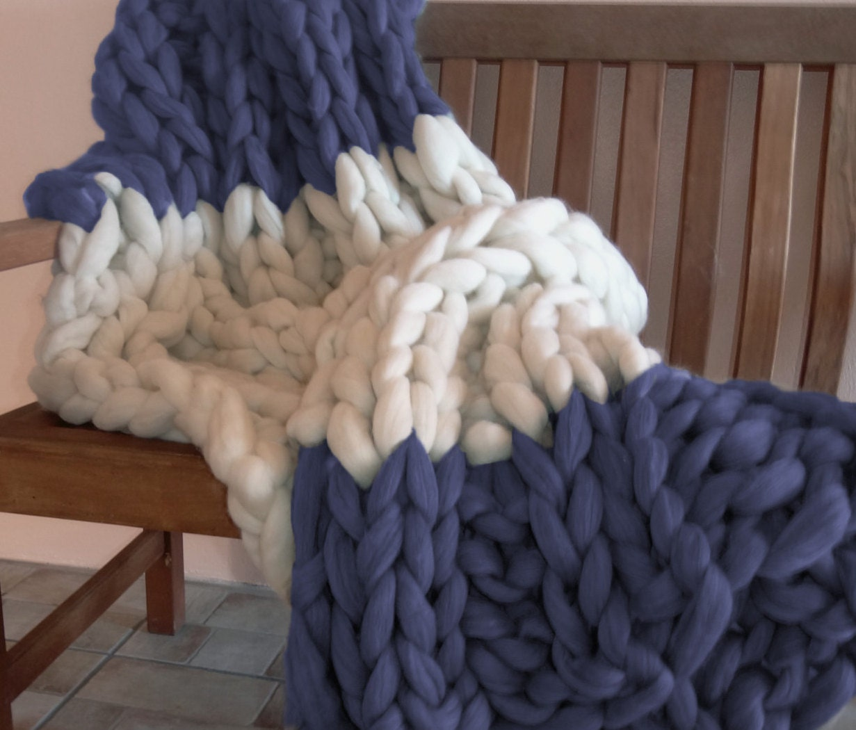 Hand Knitting Merino Wool Blanket : Chunky knit blanket pure merino wool