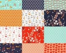Foxglove Fat Quarter bundle - by Aneela Hoey for Cloud9 - Foxglove fabric bundle, fox fabric, modern fabric, modern floral, aqua fabric
