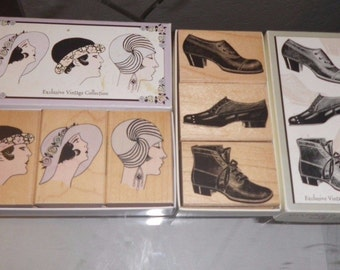 Destash Rubber Stamp Lot Hero Arts 2 Sets Vintage Hats Stylish Shoes Boxed Art Deco Altered Art Women Clothing Faces People