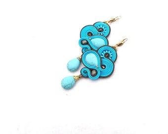 Turquoise Dangle Drop Earrings, Soutache Earrings, Drop Earrings, Dangle Earrings, Turquoise Earrings, Handmade Soutache Earrings