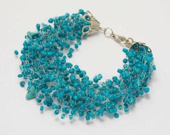 Teachers gift corporate gifts/for/her elastic bracelet Teal jewelry dark turquoise bracelet ocean jewelry turquoise jewelry energy bracelet